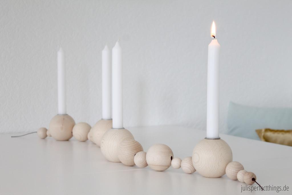 DIY Adventskranz Holzkugel Kerzenhalter String Kugelkerzenständer