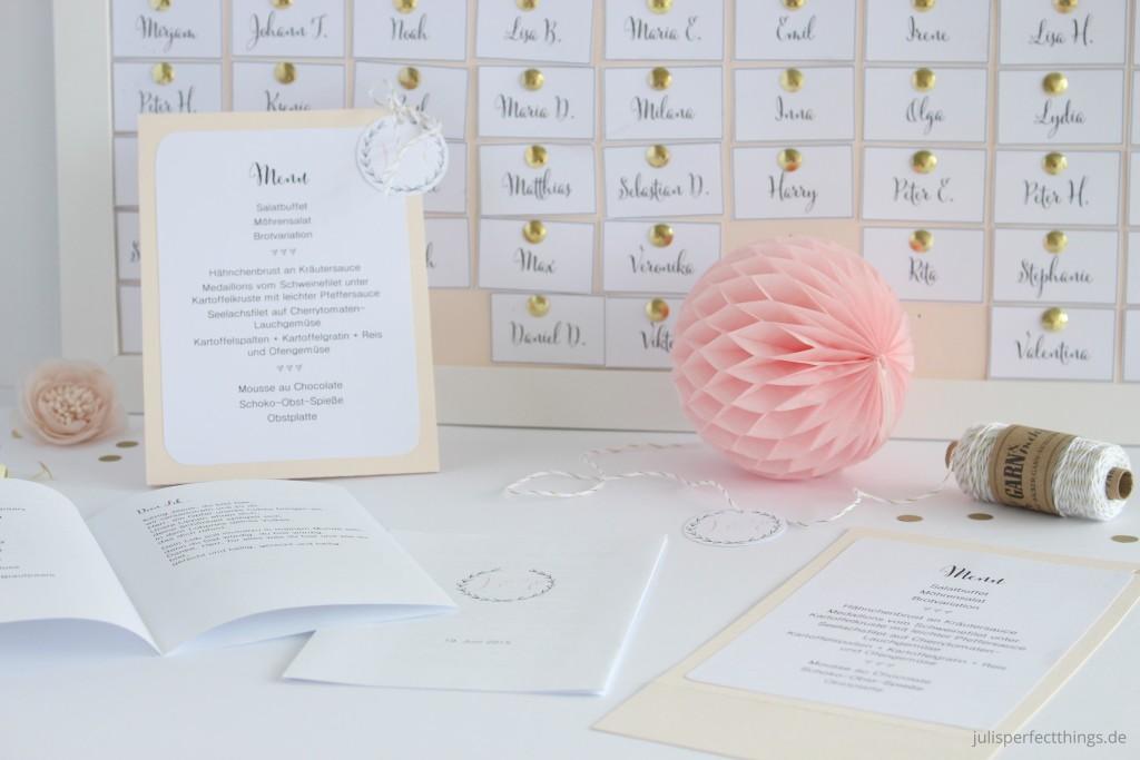 Hochzeitspapeterie DIY Menukarten Sitzplan Leporello_1